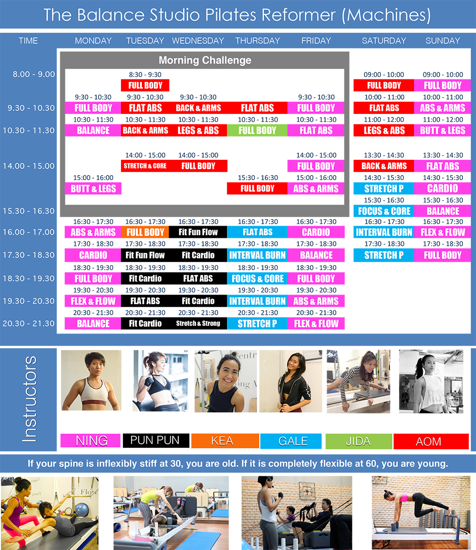 Pilates Bangkok at The Balance Studio schedule