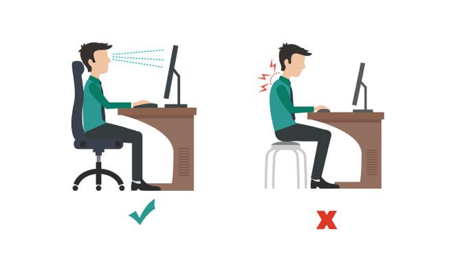 • การนั่งหน้าคอมพิวเตอร์หรือทำงานอย่างใดอย่างหนึ่งด้วยท่าทางซ้ำๆ • ท่าทางในการทำงานที่ไม่เหมาะสม • สภาพแวดล้อมหรืออุปกรณ์ในการทำงานไม่เหมาะสม • ภาวะเครียดจากงาน การอดอาหาร การพักผ่อนไม่เพียงพอ ซึ่งส่งผลให้ร่างกายต้องแบกรับความตึงเครียดปราศจากการผ่อนคลาย