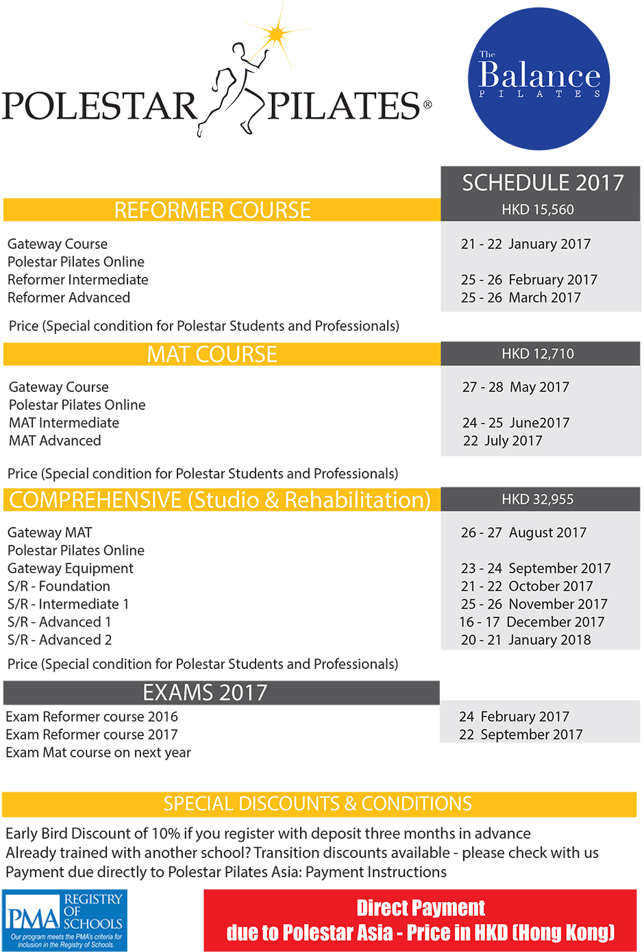 Polestar Pilates Bangkok Training Schedule